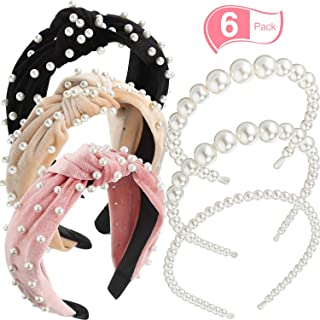 6 Pieces Pearl Headbands Velvet Wide Pearl Hair Bands Knot Turban Headband Bridal Hair Hoop Vintage Faux Pearl Wedding Headwear for Women Hair Accessories or Birthday Valentines Day Gifts