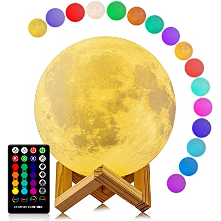 Moon Lamp, LOGROTATE 16 Colors LED Night Light with Stand/Timing Setting, Kids Moon Light with Remote/Touch Control/Dimmable/USB Recharge for Kids Lover Birthday Christmas Gifts (5.98 Inch)