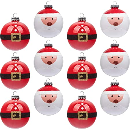 Amazon Com Ki Store Red And White Christmas Balls Ornament 12ct Shatterproof 3 15 Inch Tree Ball Cute Santa Hand Painting Decorations For Xmas Trees Parties And Holiday Kitchen Dining