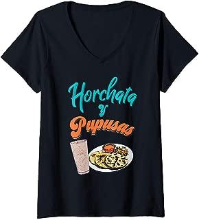 Womens Horchata y Pupusas T-Shirt Camisa El Salvador Shirt V-Neck T-Shirt
