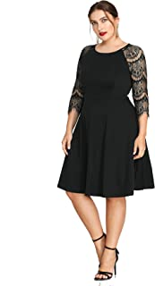 Plus Size Hollow Out Lace 3/4 Sleeves Scoop Neck Empire Waist Evening Homecoming Party Midi Dress
