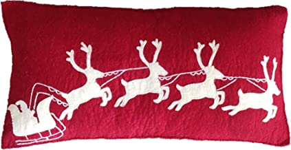 "Arcadia Home Hand Felted Wool Christmas Pillow Cover- Cream Sleigh and Reindeer on Red - 12""x24"" Decorative Pillow, Multi"