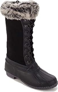 Waterproof Suede Leather Faux Fur Trim Womens Duck Boot