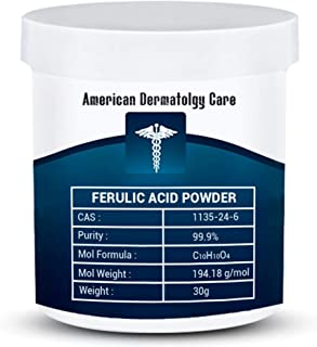 99+% Pure Ferulic Acid Powder Cosmetic Synthetic Extract CAS 1135-24-6 GMO Free - Additive for Lotions, Creams, Serums (30 Grams)