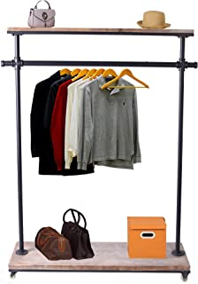 Diwhy Pipe Series Commercial Quality Pipeline Ballet Rack Rolling Garment Clothing Rack Industrial Pipe Clothing Rack Storage Clothing Display Rack with Wheel