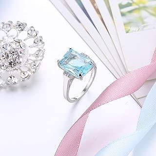 Sumanee Vintage Women 925 Silver Aquamarine Gemstone Ring Wedding Jewelry Size 6-10 (10)