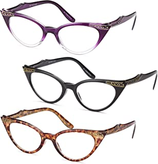 Gamma Ray Women's Reading Glasses - 3 Pairs Chic Cat Eye Ladies Fashion Readers
