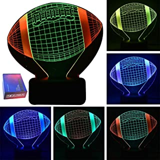 HIPIYA American Football LED 3D Illusion USB Night Light Rugby Lamp Christmas Present Birthday Gift for Sports Fans Husband Men Boyfriend Boy Kid Player Bedroom Decoration Room Decor (Football)