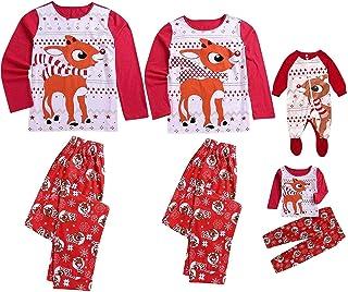 QIBIN A Juego Pijamas de Familia, Productos a Juego de la Familia de los Pijamas de Navidad a Juego Pijama Impresa Letra de la Tela Escocesa de los Pantalones de la Ropa de Noche Equipos