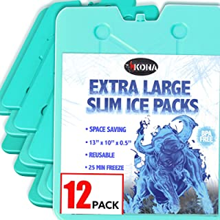 Ice Packs for Coolers - No Ice Required - Reusable Long Lasting (-5C) Large Thin Freezer Packs - Freezes in 25 Minutes