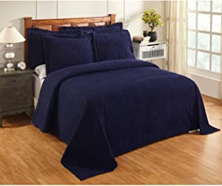 MISC Oversized Navy Blue Chenille Bedspread King 120x110 Vintage Western Extra Long Bedding to The Floor Tufted Old Fashioned Traditional Antique Classic Gray Cotton, 1 Piece