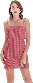 Women's Twist Back Plaid Mini Bodycon Party Gingham Sexy Spaghetti Straps Dress