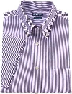 Croft & Barrow Mens Classic Fit Button Down Short Sleeve Dress Shirt Purple