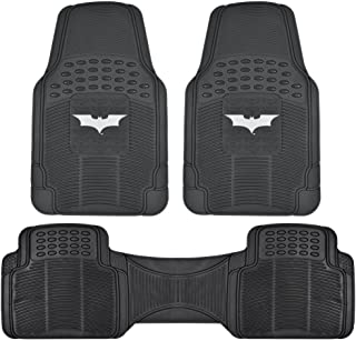 Dark Knight Batman Rubber Floor Mats for Car - 3 PC Set, Warner Brothers, Trimmable to Fit