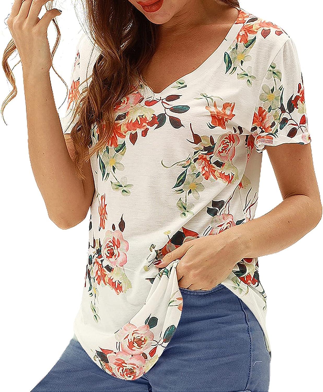 Women's Floral T-Shirt Short Sleeve Casual Tops O-Neck Printed Twist Irregular Hem Summer Tunics