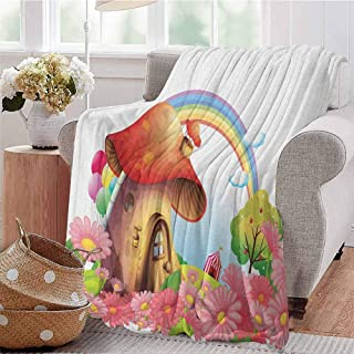 Luoiaax Mushroom Luxury Special Grade Blanket Little Shroom House in Garden of Flowers Rainbow Fruit Trees Circus Tent Balloons Multi-Purpose use for Sofas etc. W80 x L60 Inch Multicolor