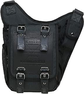 Retro Casual Shoulder Backpack Sports Canvas Handbag Crossbody Messenger Bag Chest Pack for Men by KAUKKO (03-1-Black)