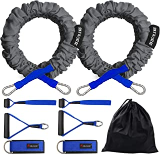 Coolrunner Crossover Resistance Bands, Resistance Cords Workout Bands for Men Women Exercise with Protective Nylon Sleeves Comes with 2 Same Weight Resistance Tubes Handles