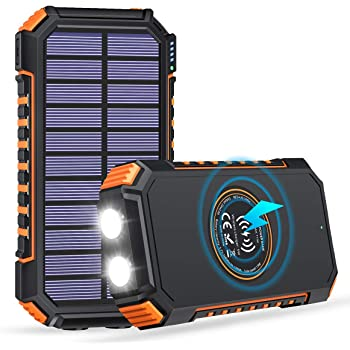 ADDTOP Solar Charger 26800mAh, Solar Power Bank with 3 Outputs & 2 LED Flashlights, Qi Fast Charging Backup Battery, Portable Solar Panel Charger for Camping and Outdoor