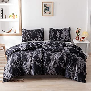 Smoofy Queen Comforter Set, Black Marble Pattern Printed Bed Comforter, Soft Fabric with Brushed Microfiber Fill Bedding(1...