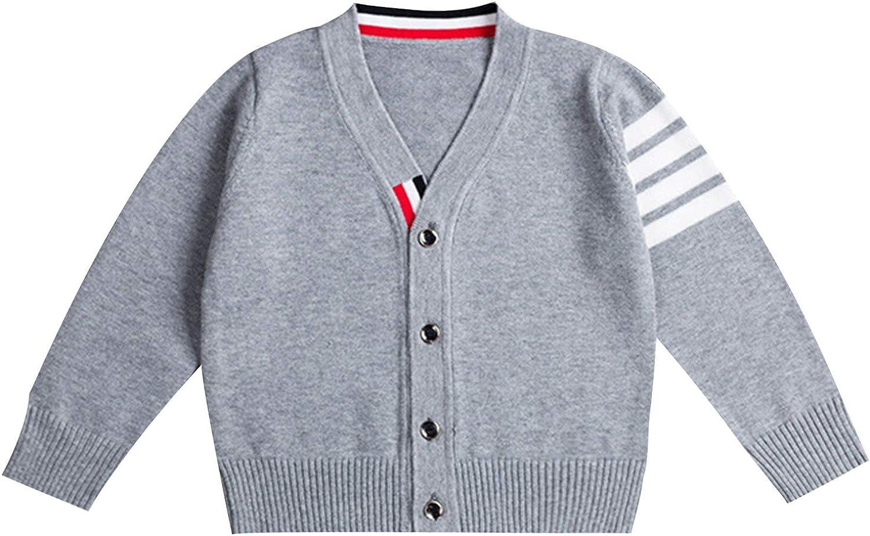 YUUMIN Kids Boys Sweater Coat Cotton Long Sleeves V Neck Buttons Stripes Crochet Knitwear Cardgidan