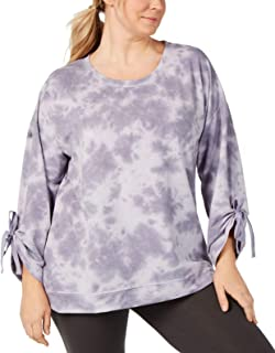 Ideology Womens Plus Size Tie-Dyed Tie Tops