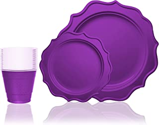 Tiger Chef 144-Pack Purple Color Round Scalloped Rim Disposable Plastic Plate Set for 48 Guests Includes 48 10-Inch Dinner Plates, 48 8-Inch Salad Plates - BPA-Free