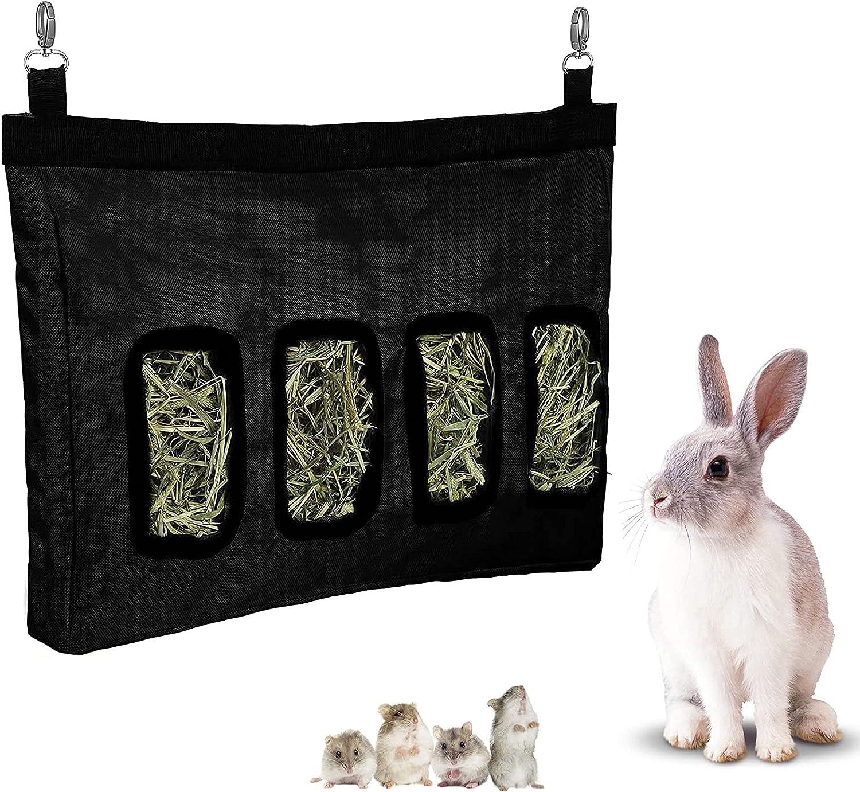 Bolsa Heno Comedero Heno para Mascotas Bolsa de Heno de Conejo Alimentador Colgante De Bolsas De Heno Bolsa de alimentación Colgante con 4 Orificio para Conejos, Cobayas, Animales Pequeños (Negro)