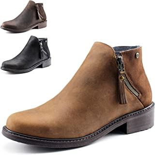 Crazy Horse Learher Waterproof Zipper Ankle Boots for Women,Mid Heel,Pig Leather Lining, Non-Slip Rubber Sole,Memory Foam Insole