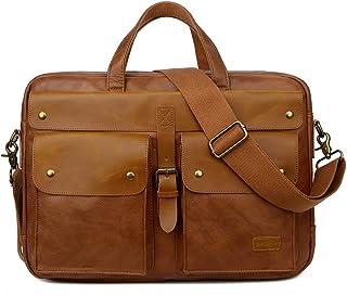 BAOSHA PU Leather Briefcase 17 inch Laptop Bag Satchel Messenger Shoulder Bags Briefcase for Business Work Office (Brown)