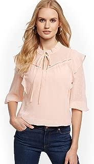 New York & Co. Women's Clip-Dot Ruffled Blouse