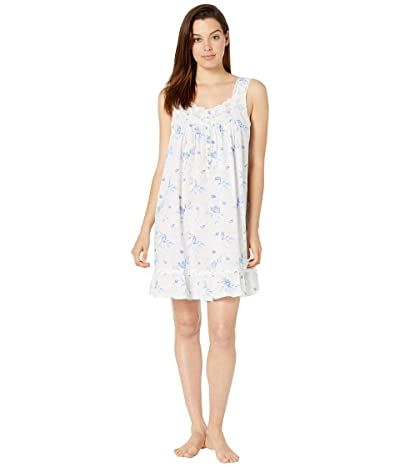 Eileen West Cotton Woven Lawn Sleeveless Short Chemise (White Ground Floral with Shadow Leaf) Women