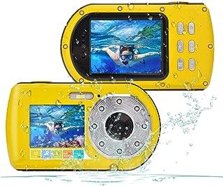 Waterproof Camera,Camking 24MP Full HD 1080P Underwater Camera 16X Zoom Sports Camera, Self-time Dual Display 2.7&2.0 Inch Screen DV Recording 10M(33Feet) Waterproof Digital Camera