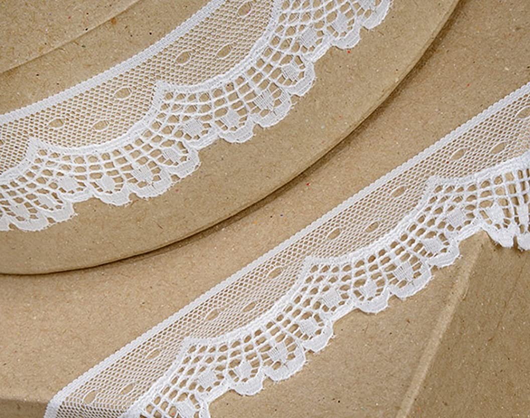 40mm Ivory Scalloped Lace Border Trim Ribbon for Craft - 5m rciadmwwncl83