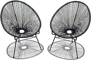 Harmonia Living 2 Piece Acapulco Lounge Chair Set, Small, Jet Black
