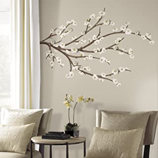 RoomMates White Blossom Branch Peel And Stick Giant Wall Decals with Flower Embellishments,Multicolor