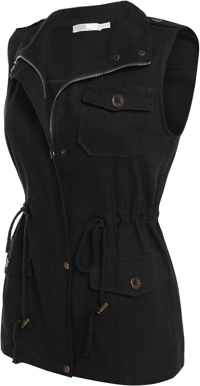 Bifast Women Sleeveless Zip Up Drawstring Waist Military Jacket Vest w Pockets