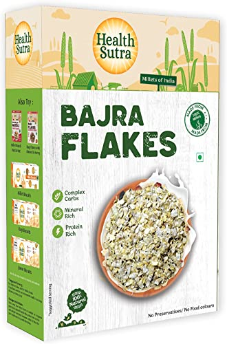 Health Sutra Bajra Flakes 500gms Gluten Free Mineral rich Protein Rich Breakfast Unflavored Toasted Alternative to Oats