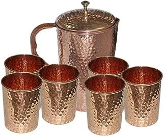 Parijat Handicraft Hammered Copper Jug Pitcher & 6 Glass Tumbler , Storage & Serving water Restaurant Hotel Home, Set of 7 pieces