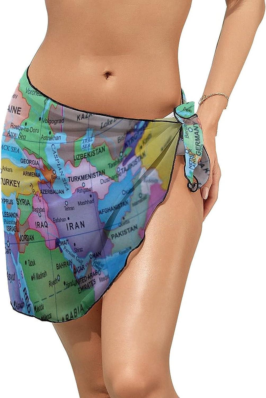 Women's Beach Sarongs Bikini Cover Ups Multicolored Globe Map Sheer Swimwear Short Skirt