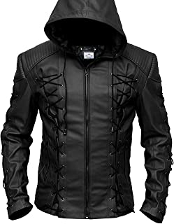 VearFit Stephen Amell Green Arrow Roy Harper Mens Faux Leather Jacket Superhero