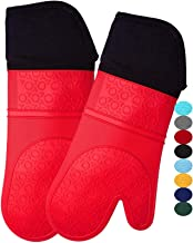 HOMWE Extra Long Professional Silicone Oven Mitt, Oven Mitts with Quilted Liner, Heat Resistant Pot Holders, Flexible Oven...