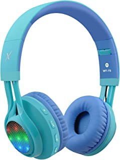 Riwbox WT-7S Bluetooth Headphones, LED Light Up Wireless Foldable Stereo Headset with Microphone and Volume Control for PC/iPhone/TV/iPad (Blue)