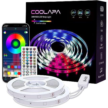 LED Strip 20M, COOLAPA Led Streifen RGB 5050, LED Stripes mit 40 Tasten IR-Fernbedienung APP Steuerbar Musikmodus, 12V 360 LEDs, Sync mit Musik, Beleuchtung von Haus, Party, Küche, 2 Rollen von 10m