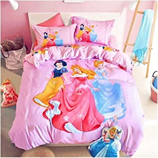 Featuring Disney Princess Bedding Sheet Set Single Queen Twin Full Size 【Free Express Shipping】 【100% Cotton】 Cartoon Cinderella Snow White Aurora Girly Pink 3 and 4 Piece (Queen / Double / Full Size)