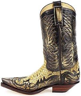 PLAYH Bottes De Cowboy pour Hommes, Bottes en Cuir Vintage Broderie Bottes Longues Chaussures D'équitation De Style Occide...