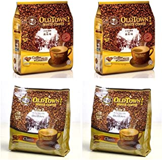 2Pack Old Town White Coffee 3 in 1 Classic Flavor (2 x 15 sachets) & 2 Pack Old Town White Coffee 2 in 1 Coffee & Creamer Flavor (2 pack x 15 sachets)