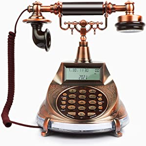 Vintage Telephone, Retro Telephone Antique Landline with LCD, Corded Telephone for desktop and Decor, Support 2-Touch Dial, Hand-Free, Alarm, DND, Old Fashioned Phone for Home, Office, Hotel, Cafe