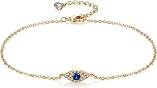 Evil Eye Anklet,14K Gold Plated Evil Eye Ankle Bracelet,Blue Evil Eye,Multi-Color Evil Eye Dangle Anklets for Women
