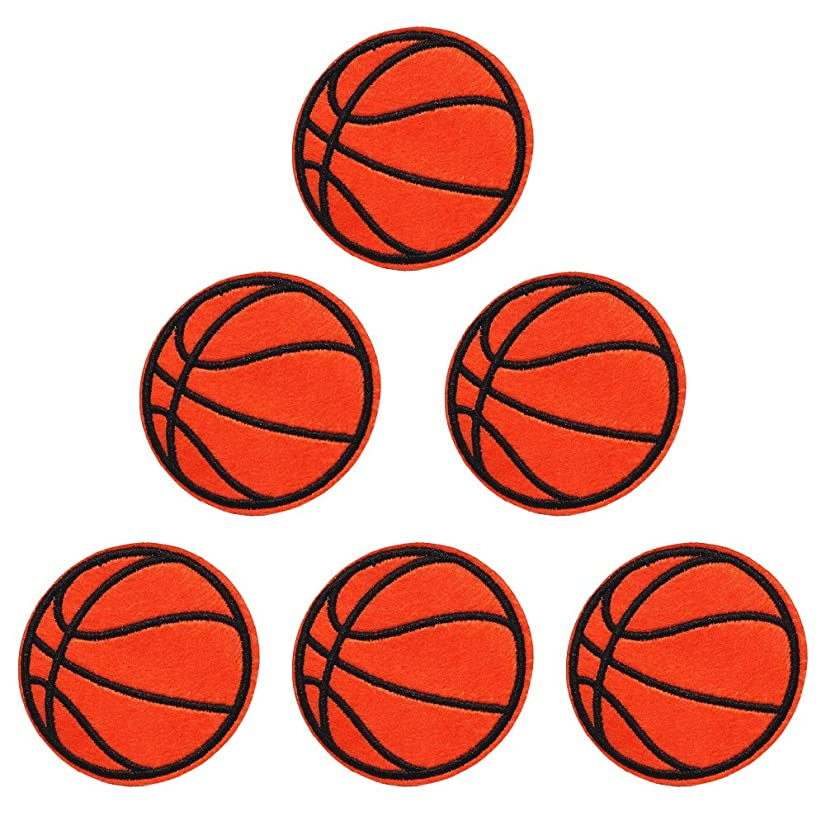 XUNHUI Basketball Embroidered Patches for Clothing Iron On Patches Ball Badge Stickers for Clothes DIY 5.8cm 5 Pieces